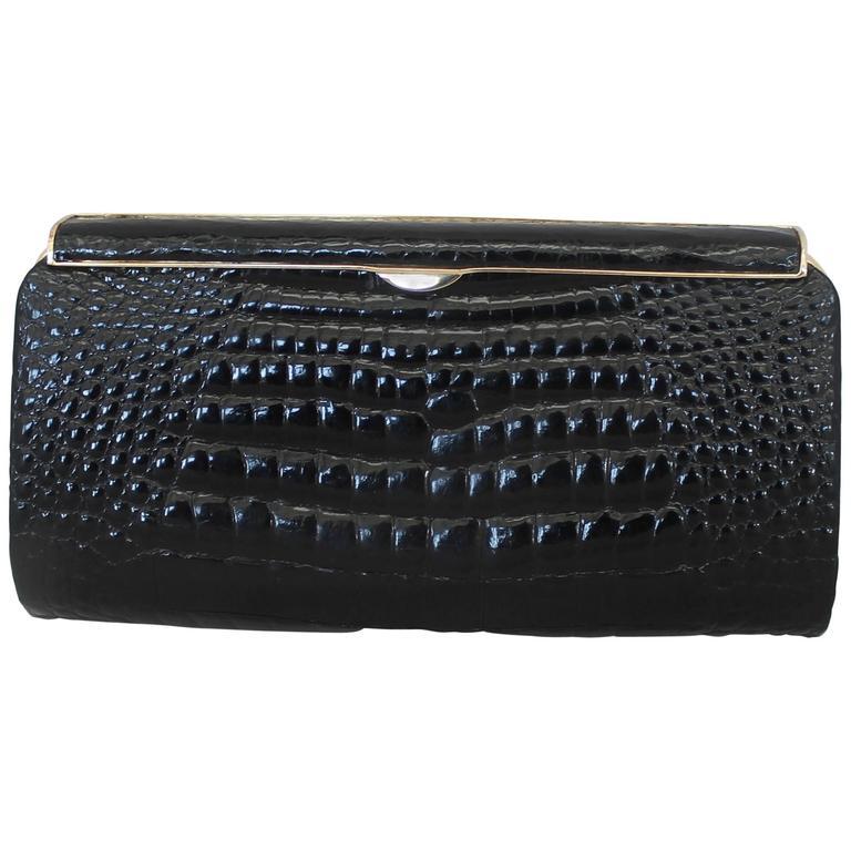 Gucci Vintage Black Small Alligator Clutch - Ghw - Circa 1980s Or Earlier mXrjY