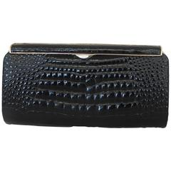 Gucci Vintage Black Small Alligator Clutch - GHW - Circa 1980's or Earlier