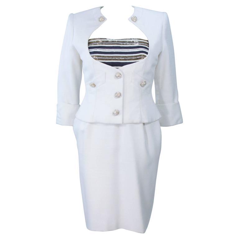 JEAN PATOU COUTURE Embellished White Gold & Navy Linen Dress Ensemble Size 2-4