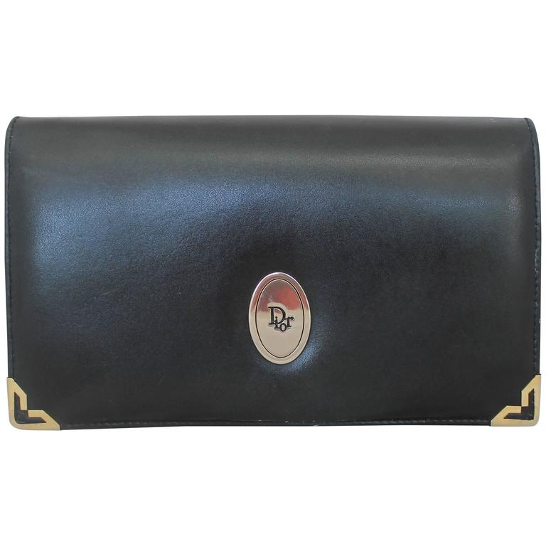 Christian Dior Vintage Black Leather with Gold Hardware Clutch, Circa 1980s For Sale