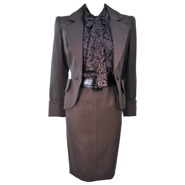 GIVENCHY COUTURE Wool Silk & Snakeskin 4pc Skirt Suit with Belt Size 4-6 1