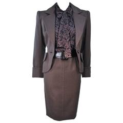 GIVENCHY COUTURE Wool Silk & Snakeskin 4pc Skirt Suit with Belt Size 4-6