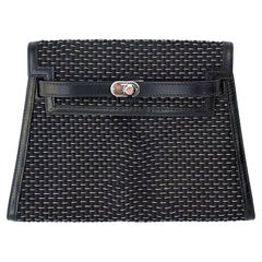 Exceptional Hermès Kelly Pochette Purse Black Crinoline and Silver  Phw RARE