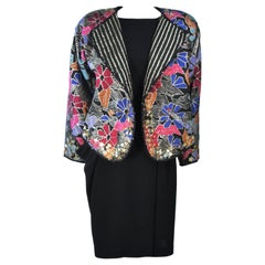 GEOFFREY BEENE COUTURE Reversible Embellished Jacket and Draped Dress Size 6-8