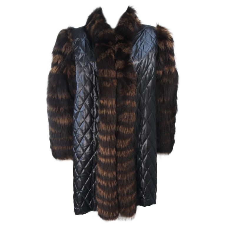 YVES SAINT LAURENT Quilted Fox Fur Coat with Sheared Beaver Lining Size 6-8