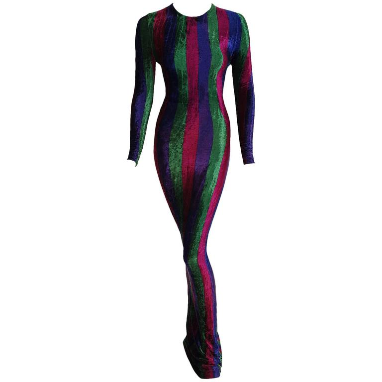 1993 Gianni Versace Couture Striped Velvet Hourglass Long-Sleeve Gown Dress  For Sale