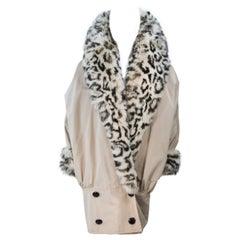 ANDREA ODICINI Khaki Coat with Patterned Oversized Fox Fur Collar & Trim Size 42