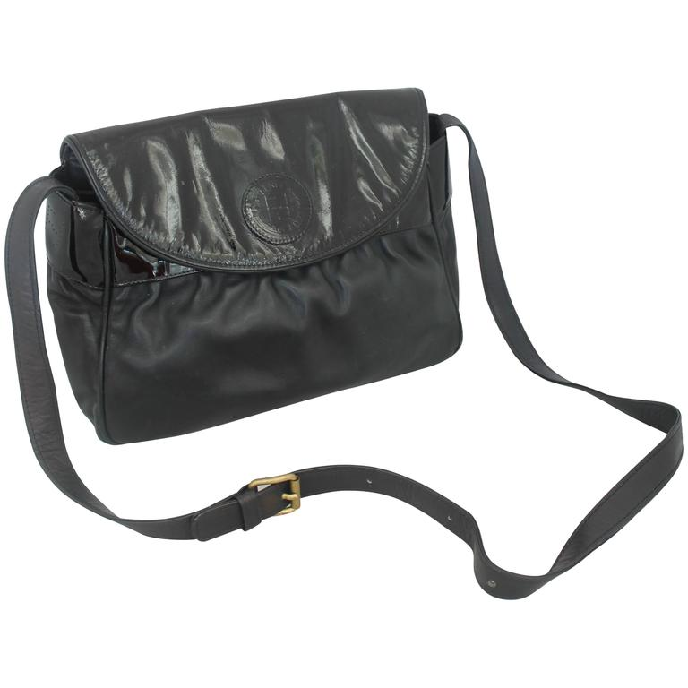 Fendi Vintage Black Leather & Patent Crossbody - Circa 1990's