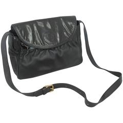 Fendi Vintage Black Leather & Patent Crossbody - Circa 1990's