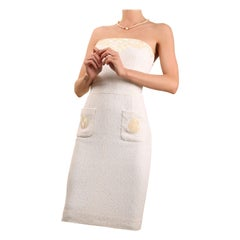 Chanel S/S 12 strapless sequin pearlised sea shell appliqué knee length dress