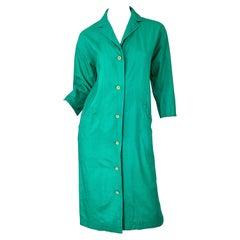 1970s Halston Kelly Green Silk 3/4 Sleeves Vintage 70s Shirt Dress w/ Pockets