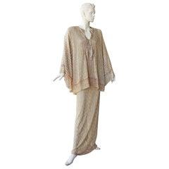 Missoni Metallic Sparkle Crochet Knit Caftan Long Dress  NWT