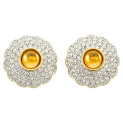 Swarovski Gold Plated Amber and Clear Pavé Crystal Swan Logo Clip On Earrings