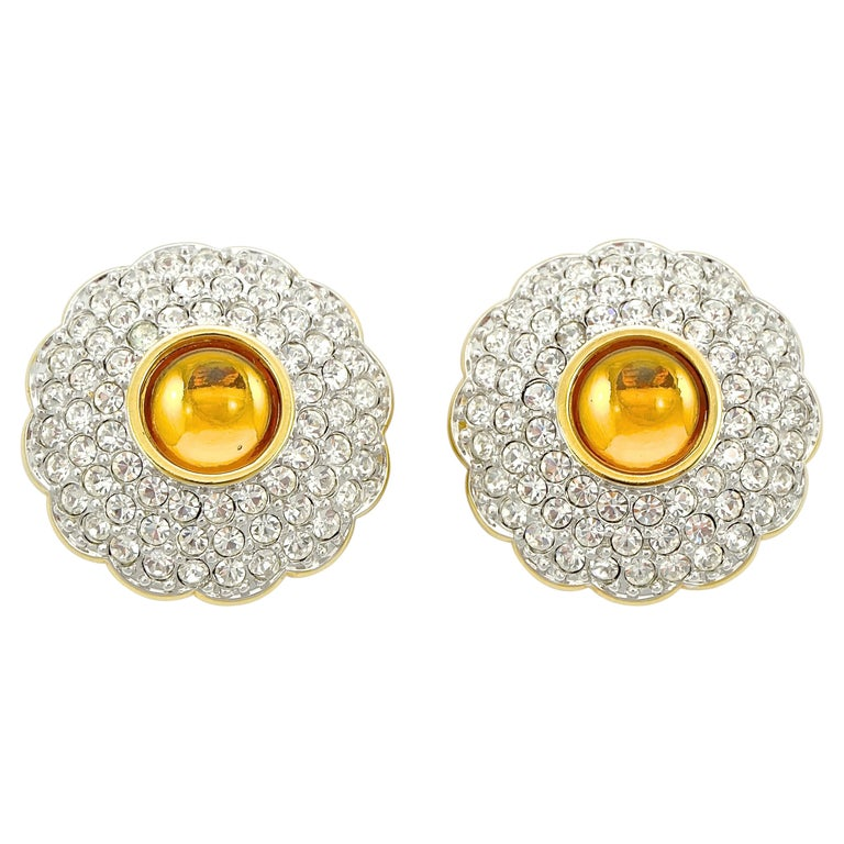 Swarovski Gold Plated Amber and Clear Pavé Crystal Swan Logo Clip On Earrings For Sale