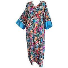 Mary McFadden for I. Magnin Wild Vintage Leopard + Floral Print Caftan Dress