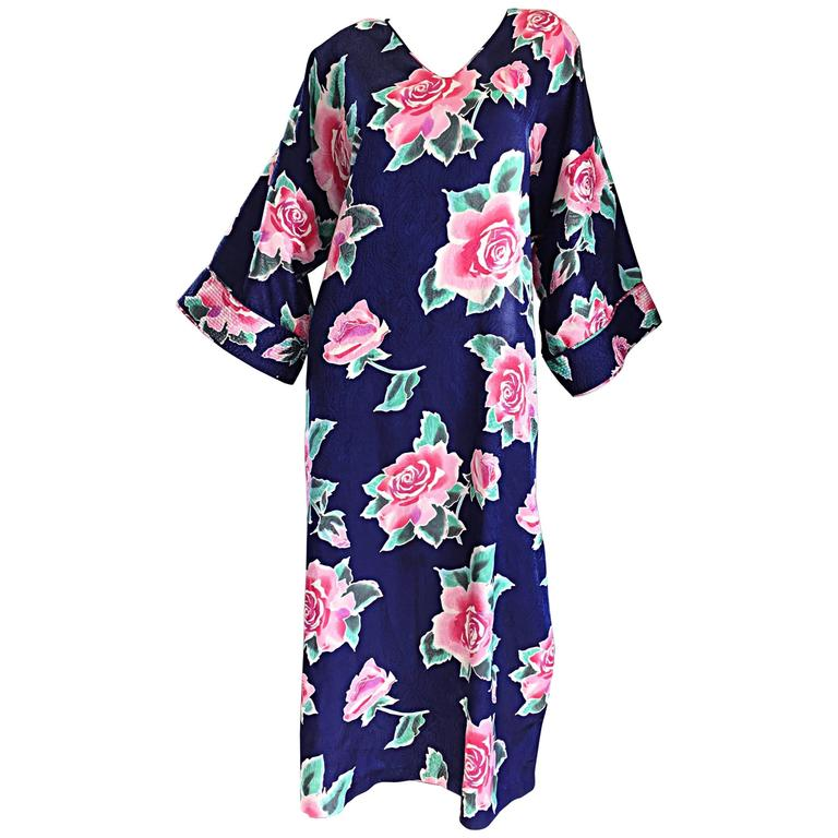 f22e96227 Vintage Mary McFadden Purple + Pink + Green 3-D Rose Print Caftan Dress For