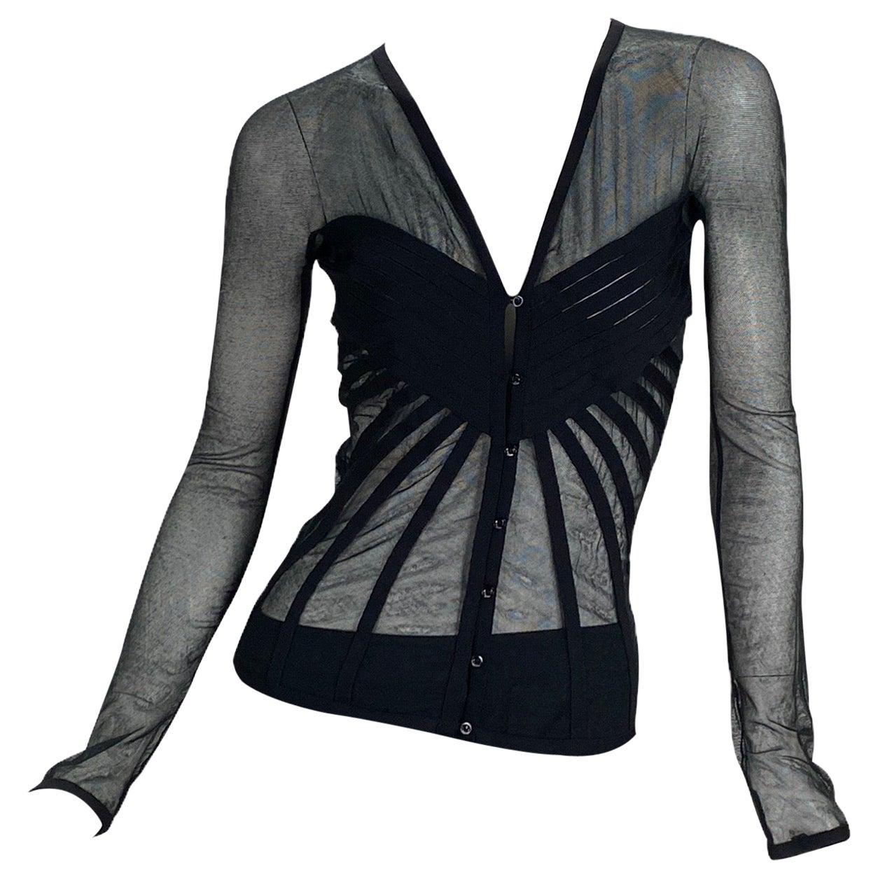 Vintage John Galliano for Christian Dior Black Tulle Cardigan Top