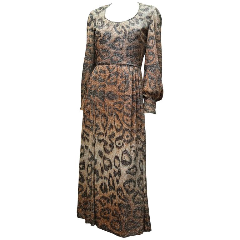 Adele Simpson Sparkly Leopard Print Maxi Dress