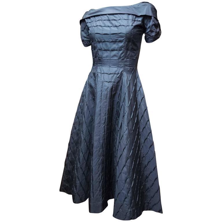 1950s Adele Simpson Navy Blue Cocktail Dress
