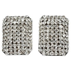 Demaria Italy Silver Plated and Clear Rhinestone Pavé Clip On Earrings