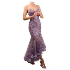 Atelier Versace Couture F/W01 purple black silver sequin low cut silk dress gown