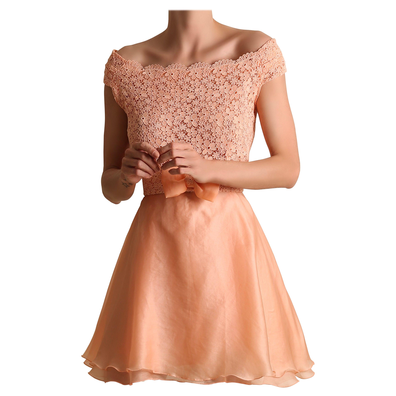Vintage Valentino sleeveless lace peach pink babydoll flared mini cocktail dress