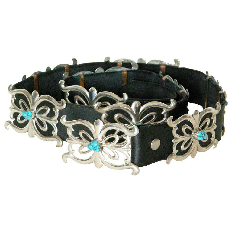 Native American Sterling and Turquoise Concho Belt
