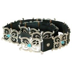 Native American Sterling and Turquoise Concho Belt on Black Leather