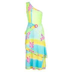 Vintage Léonard Paris One Shoulder Belted Jersey Dress