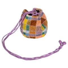 Vintage Bottega Veneta Beaded Color Block Micro Drawstring Bag Rare, 1990s