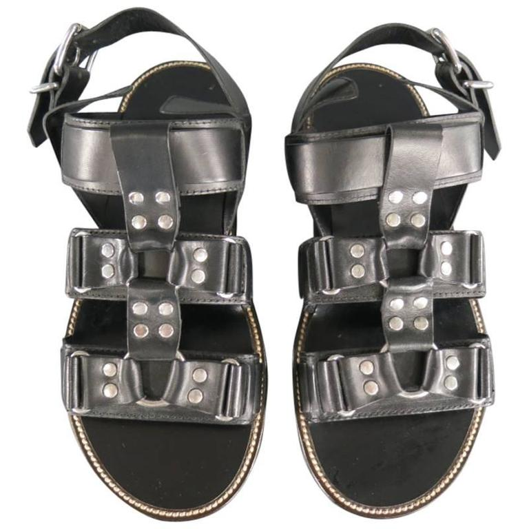 DSQUARED2 Size 8 Black Leather Fetish Harness Gladiator Sandals For Sale