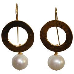 Herve van der Straeten Hammered Gold and Pearl Drop Earrings