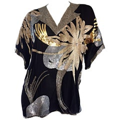 Spectacular Vintage Concetta Rafanello Black Silk Sequin Sequin Beaded Blouse