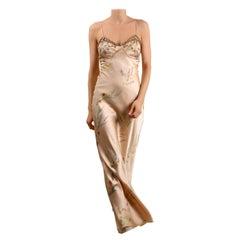 Oscar de la Renta vintage 1998 pink floral embellished silk slip maxi dress gown