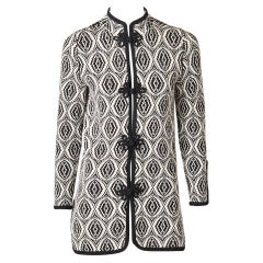 Adolfo Graphic Pattern Knit Cardigan