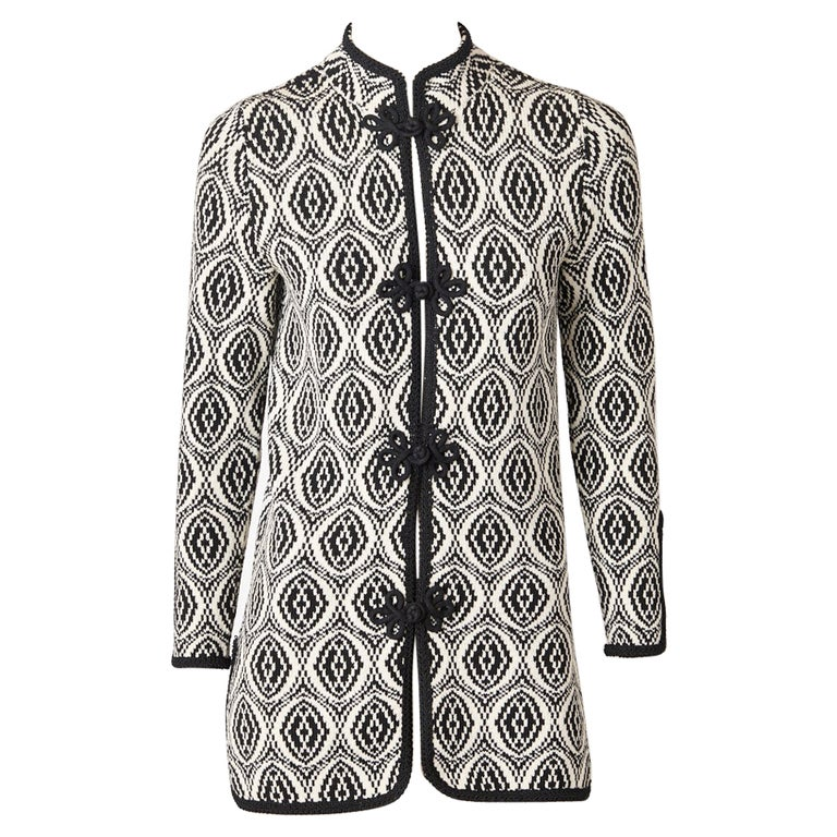 Adolfo Graphic Pattern Knit Cardigan For Sale