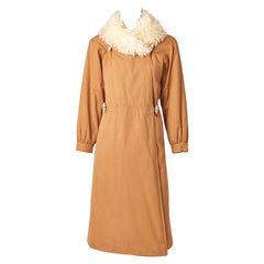 Courreges Quilted Coat with Curly Lamb Collar
