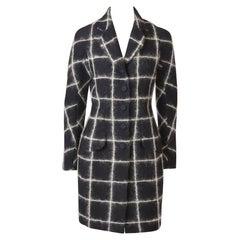 John Galliano Fitted Grid Pattern Wool Coat