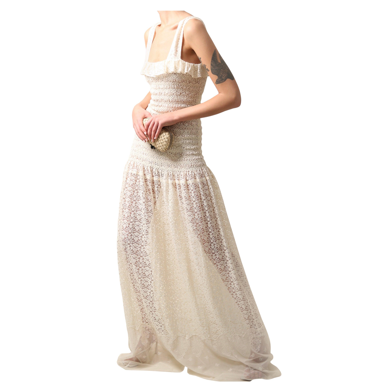 Stella McCartney 2017 'Melanie' floor length lace ivory ecru wedding maxi dress