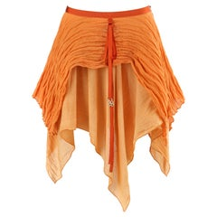 ALEXANDER McQUEEN S/S 1995 Two Toned Orange Layered Asymmetric Ruffled Skirt