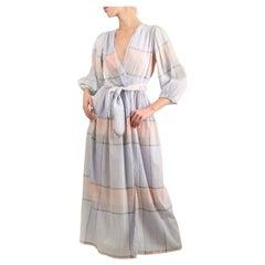 Oscar de la Renta swim vintage puff sleeve pastel plisse wrap belted maxi dress