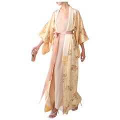 Vintage Japanese hand made peach floral silk over coat maxi robe gown kimono