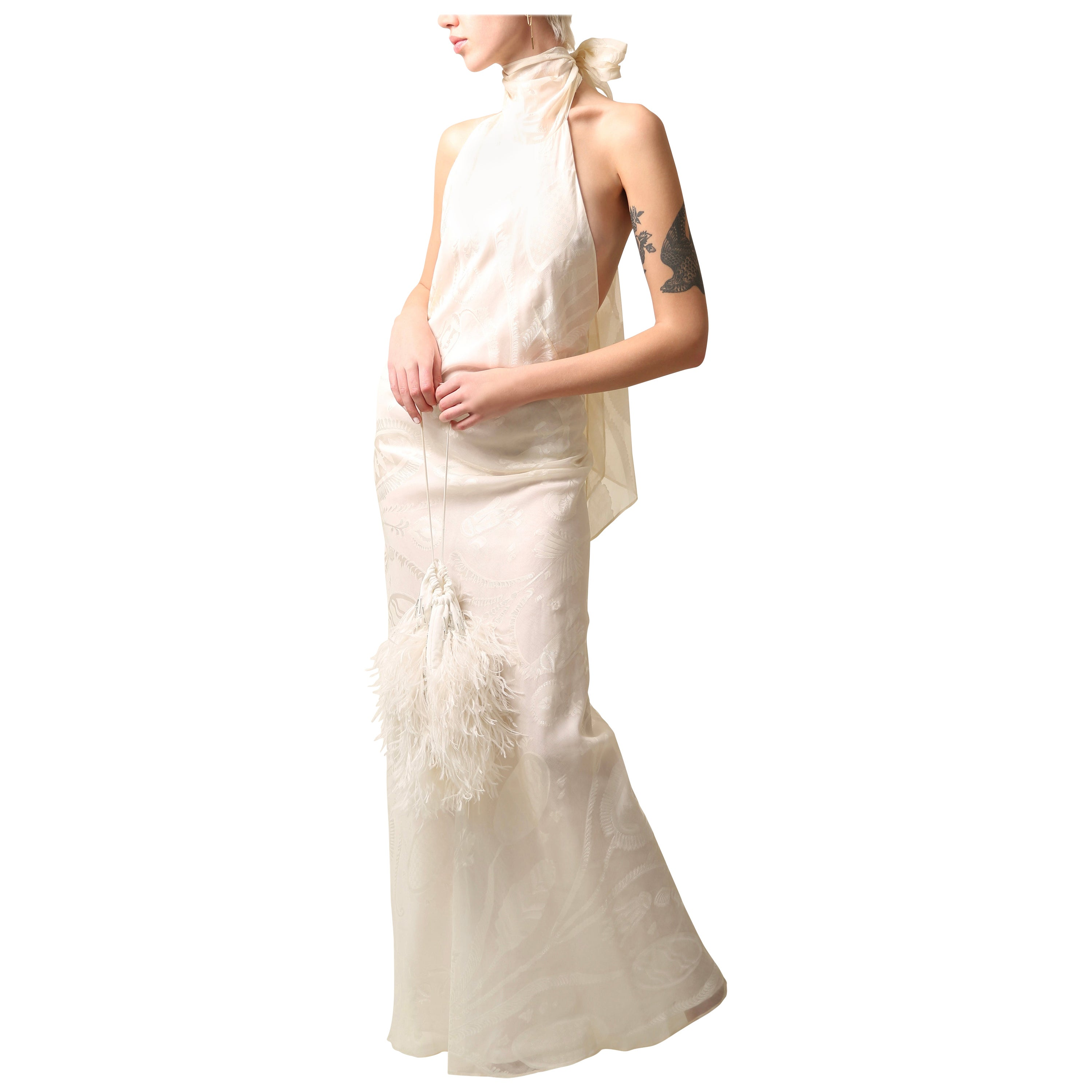 Emilio Pucci 01 vintage ivory floral print silk backless maxi dress wedding gown