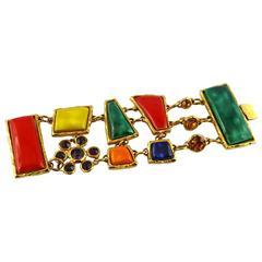 Christian Lacroix Stunning Vintage Multicolored Ceramic Cuff Bracelet