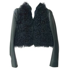 Balenciaga Green leather Black Fur jacket