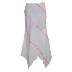 Escada White Linen Skirt with Pink Stitch Detail