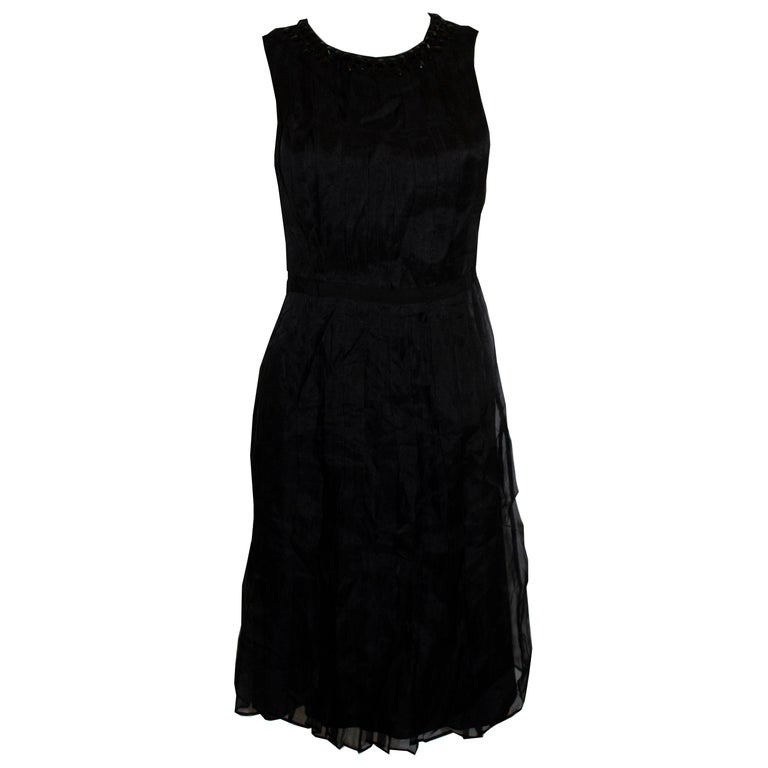 Armani Collezzioni Black Cocktail Dress with Pleat Detail For Sale