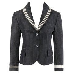 ALEXANDER McQUEEN S/S 2005 Grey Pinstripe Sailor Blazer Jacket Shawl Collar