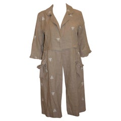 Vintage Linen Duster Coat with White Insect Embroidery