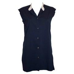 Lanvin Blue and White Collarless Shirt